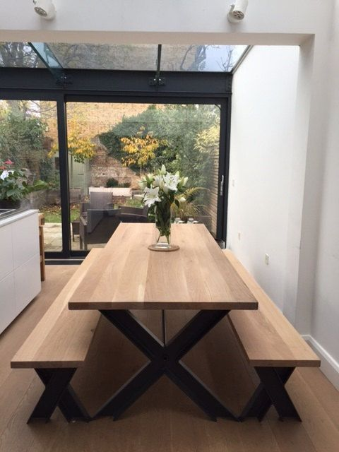 Vintage Industrial Modern Chic Oak X Metal Frame Chunky Dining Table