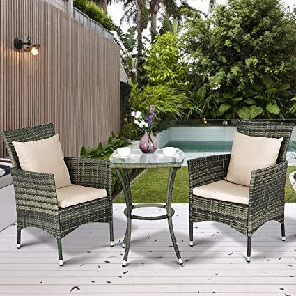 Amazon.com: Tangkula 3 Piece Patio Furniture Set Wicker Rattan