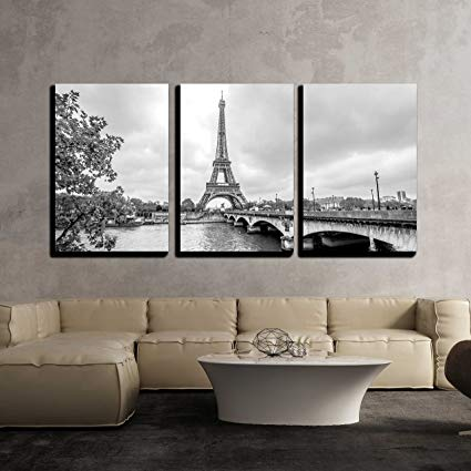 Amazon.com: wall26 - 3 Piece Canvas Wall Art - Paris Eiffel Tower