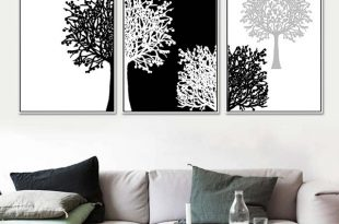3 Piece Modern Minimalist Black White Panels Trees Canvas Painting