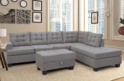 Amazon.com: Merax. Sofa 3-Piece Sectional Sofa with Chaise and