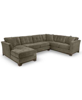 Furniture CLOSEOUT! Elliot Fabric Microfiber 3-Piece Chaise