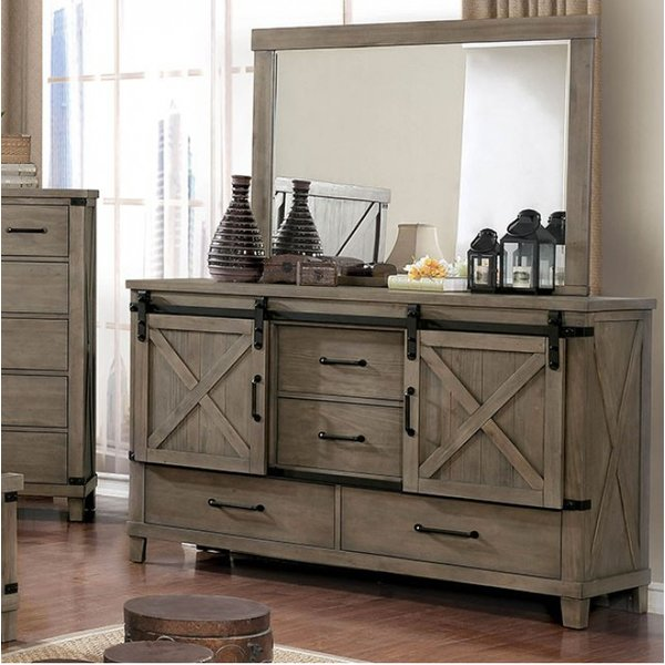 Gracie Oaks Ashly 4 Drawer Combo Dresser with Mirror | Wayfair
