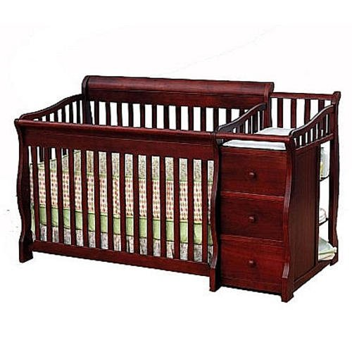 Sorelle Tuscany 4-in-1 Convertible Crib & Changer Combo Cherry