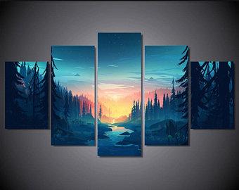 5 piece wall art | Etsy