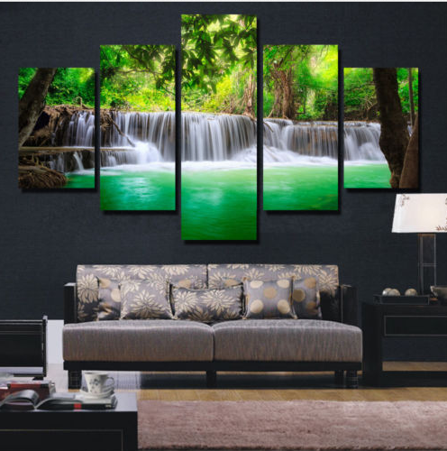 5 Pieces Unframed Large Modern Abstract Art -HD waterfall canvas
