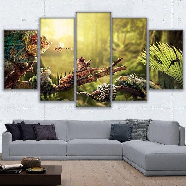 Framed Canvas Wall Art Home Decor Prints Poster 5 Pieces Iguana