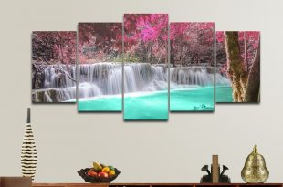 Waterfall Modern 5 Piece Framed Canvas Prints set Artwork Landscape