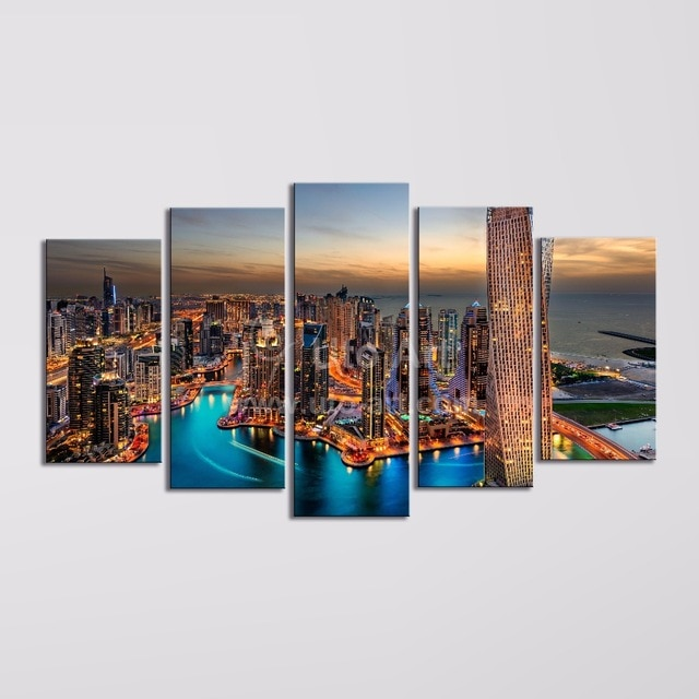 Modern 5 Piece Wall Art Painting Canvas Prints Frames Picture of