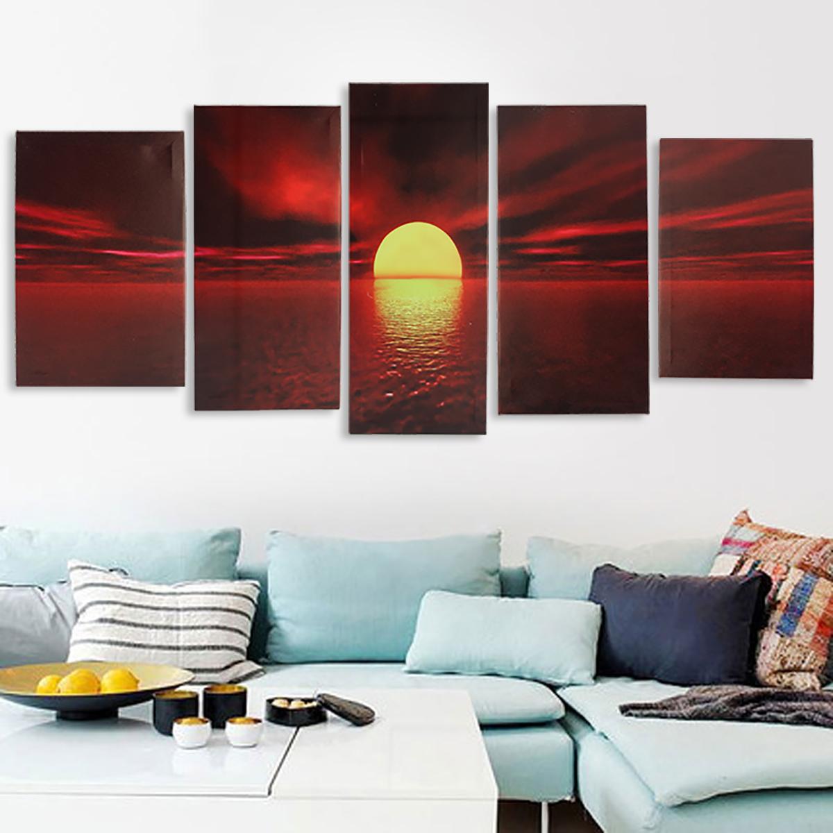 Asewin Sunrise Red Sun Modern 5 Piece Framed Wrapped Landscape