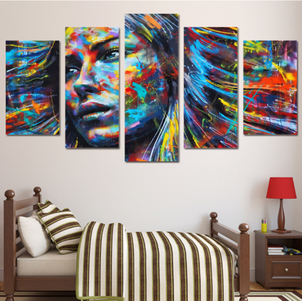 5 Piece Framed Colorful Haired Abstract Woman Canvas Prints on Wall