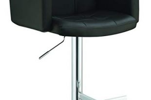 Amazon.com: Coaster Adjustable Bar Stool with Arms in Black Faux