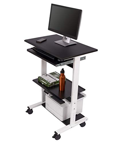 Amazon.com : Mobile Adjustable Height Stand Up Workstation (White