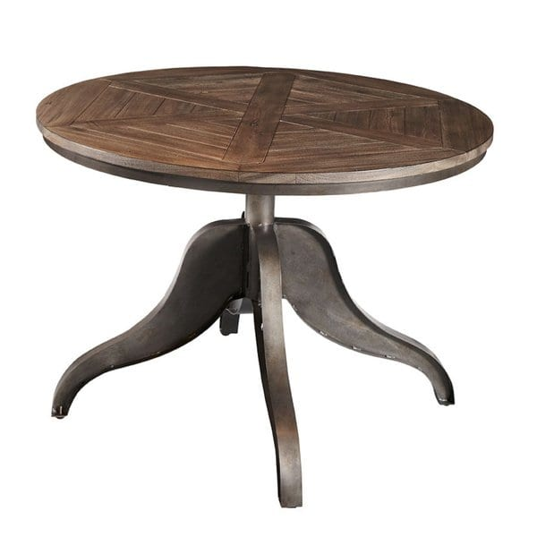 Shop Brooklyn Round Adjustable Height Steel & Oak Round Dining Table