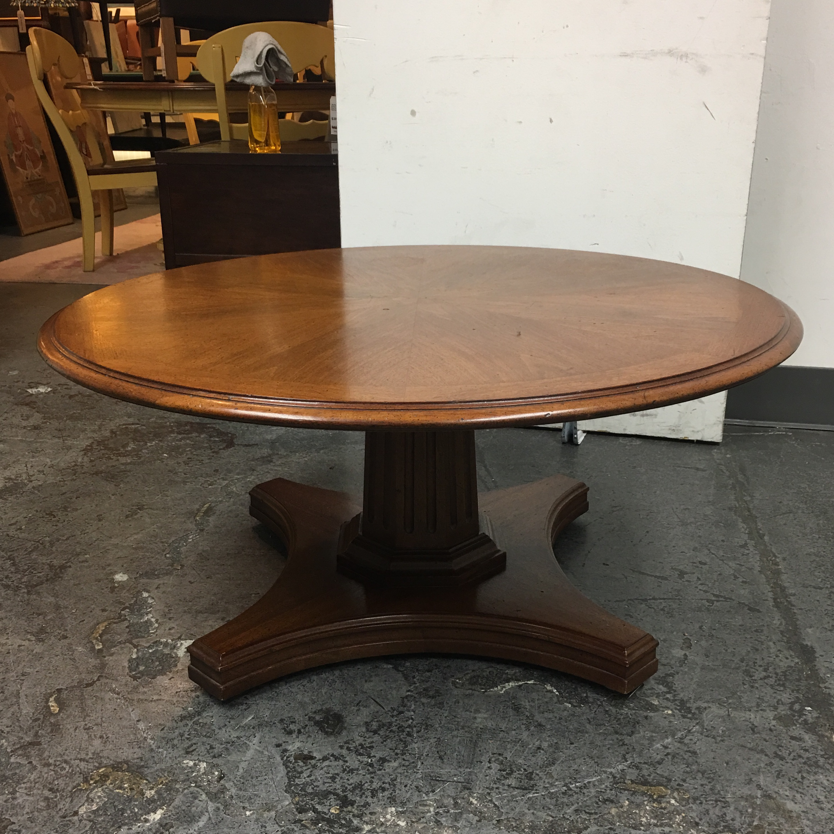Round Adjustable Height Table From Coffee to Dining | Chairish