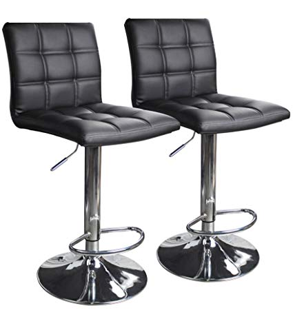 Amazon.com: Modern Square PU Leather Adjustable Bar Stools with Back