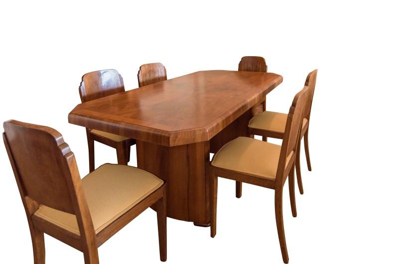 Art Deco Dining Table Walnut - Original Antique Furniture