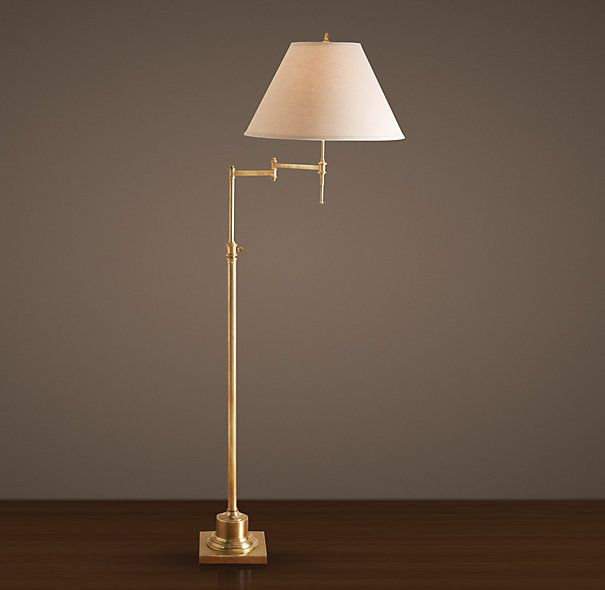 Library Swing-Arm Floor Lamp Antique Brass (available at RH Outlet