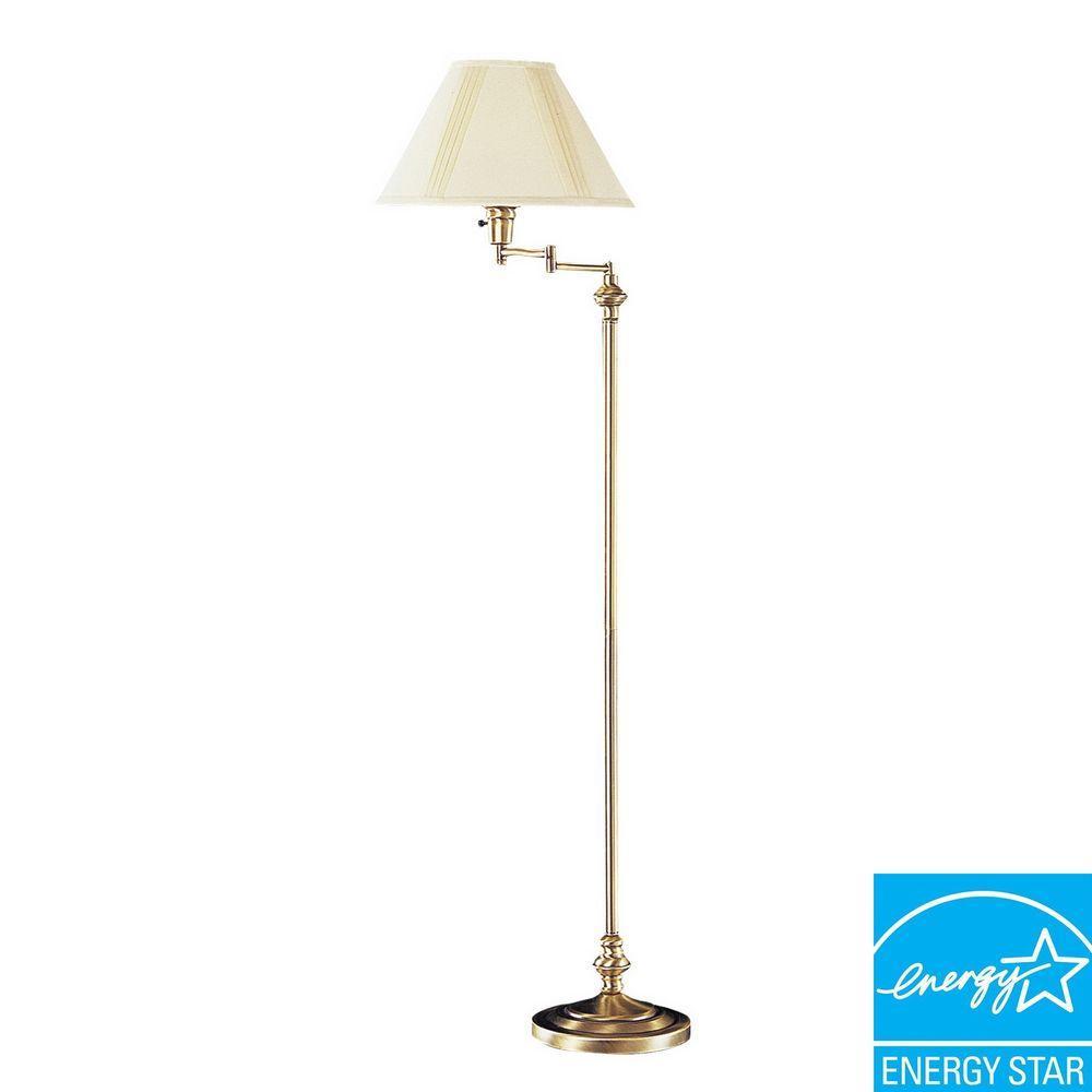 Antique Brass Swing Arm Floor Lamp