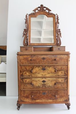 Antique Chest of Drawers with Mirror for sale at Pamono