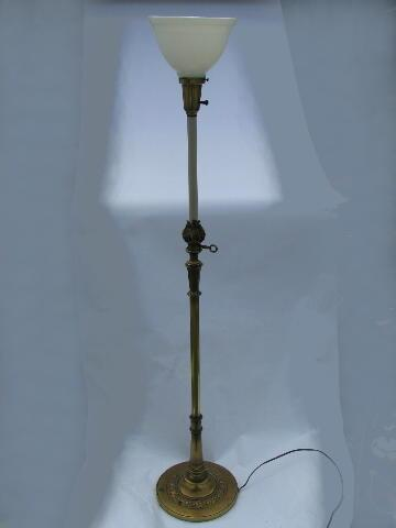 vintage torch flame solid brass torchiere floor lamp, original