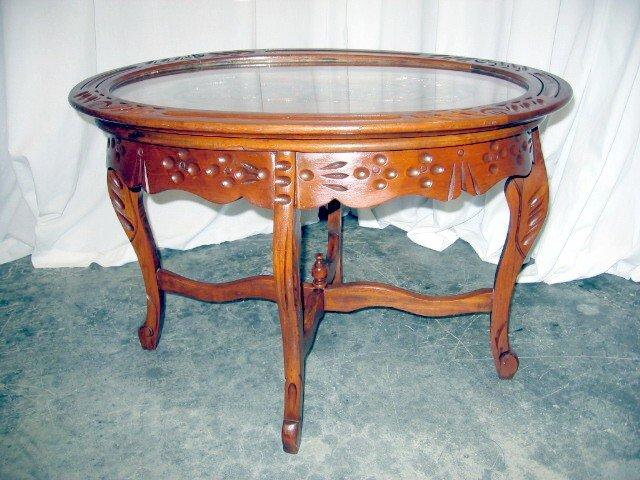 Antique Glass Top Coffee Table - Rascalartsnyc
