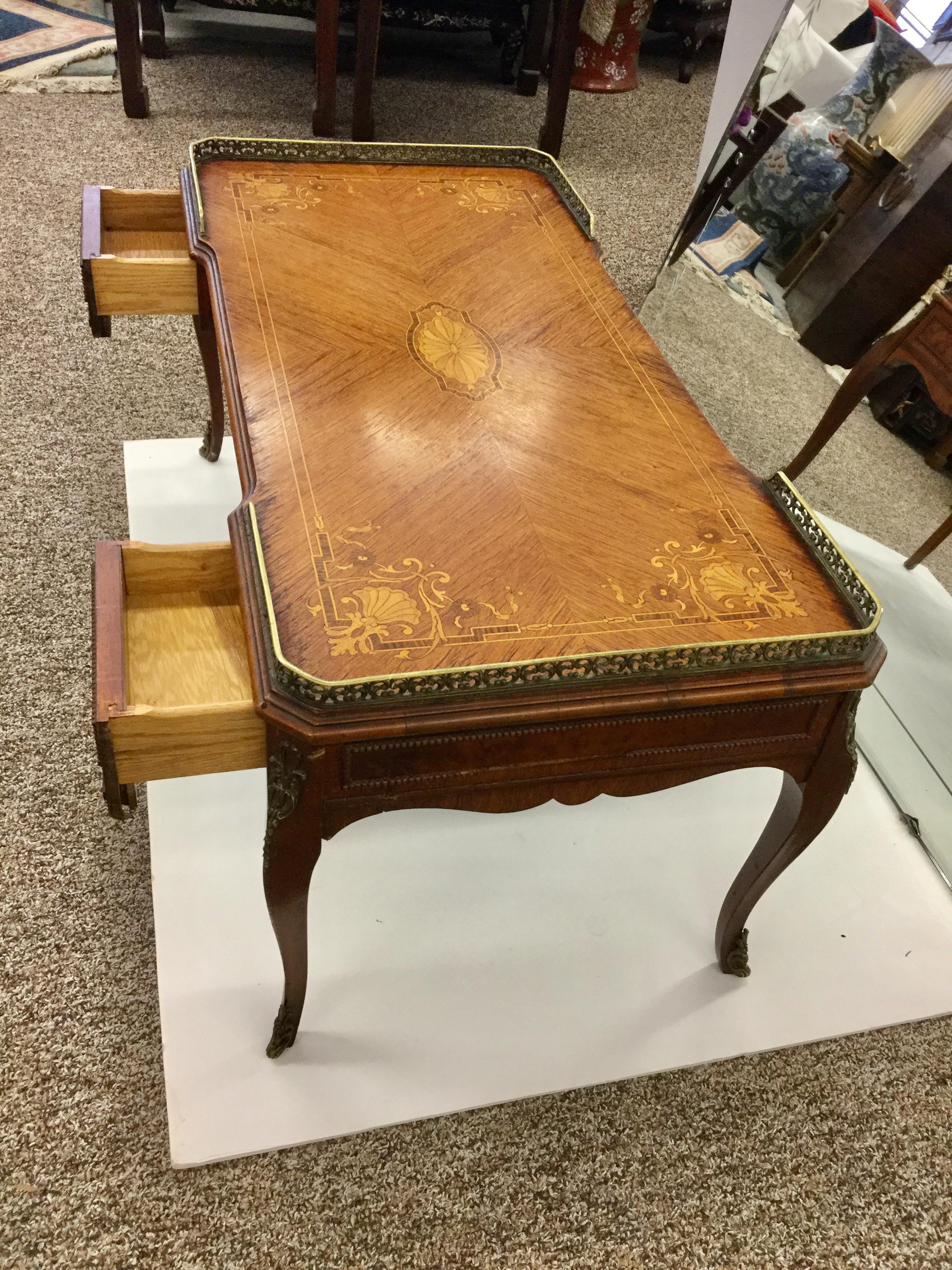 Antique Inlaid Glass Top French Coffee Table | Chairish