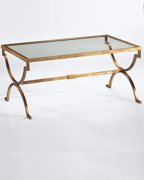 rectangular wrought iron coffee table with distressed antiqued gold