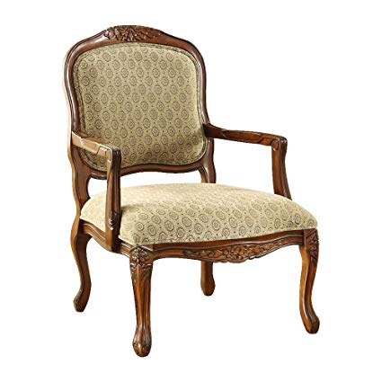 Amazon.com: Hand-Carved Wood Accent Arm Chair with Antique Oak