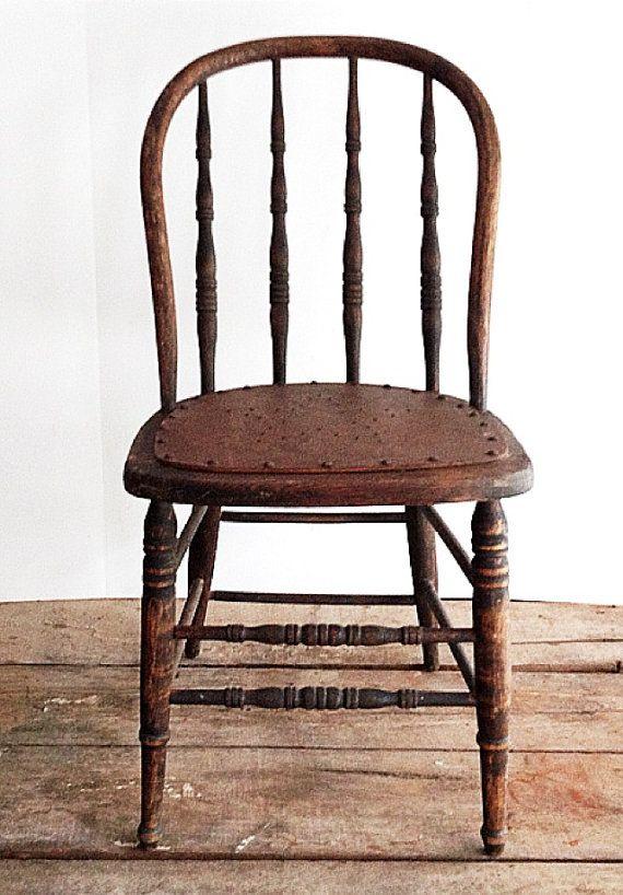 Primitive Antique Spindle Back Chair, Urban Farmhouse, Kitchen