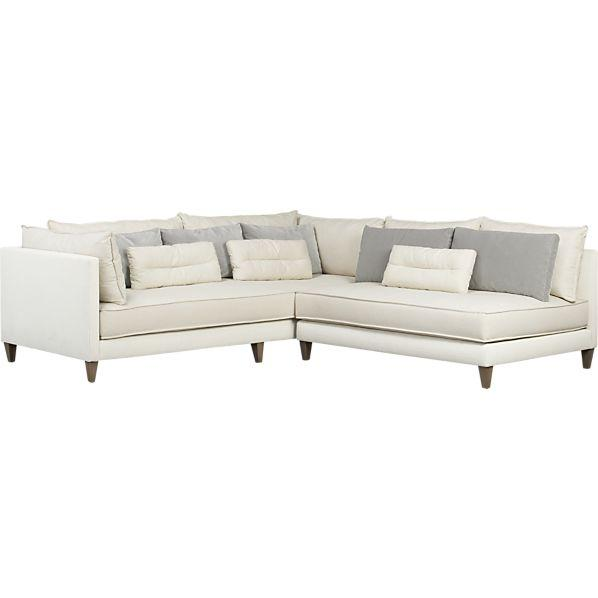 White 2-Piece Armless Sectional Sofa