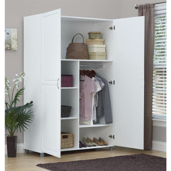 Shop SystemBuild White Kendall 48 inch Wardrobe Storage Cabinet