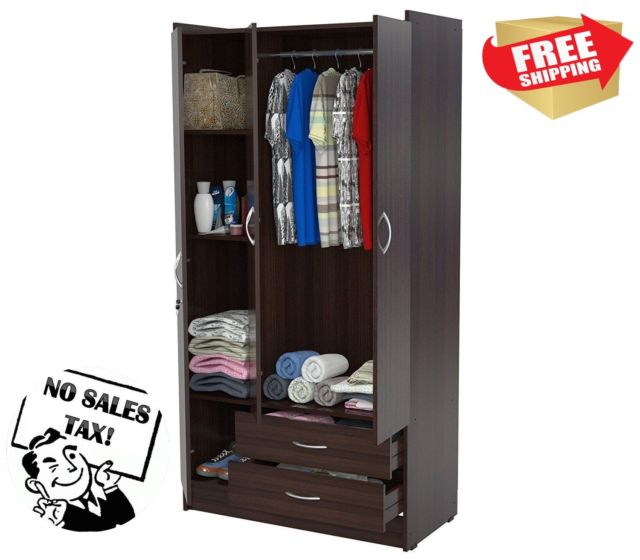 Wardrobe Armoire Storage Closet Bedroom Furniture Cabinet Wood