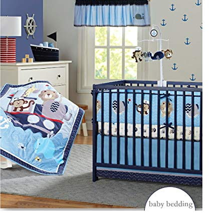Amazon.com: Brandream Nautical Crib Bedding Sets with Bumper Blue