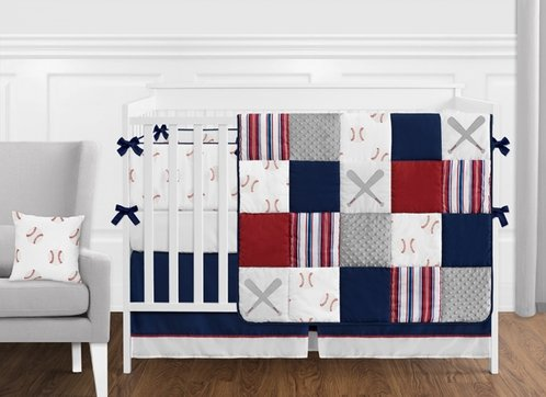 Red, White and Blue Baseball Patch Sports Baby Boy Crib Bedding Set