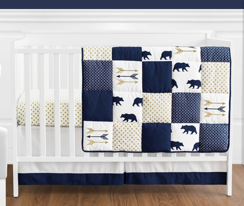 Navy Blue, Gold, and White Patchwork Big Bear Boy Baby Crib Bedding