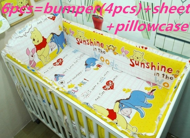 Promotion! 6PCS Embroidered Boy Crib Bedding set Baby Cot Crib