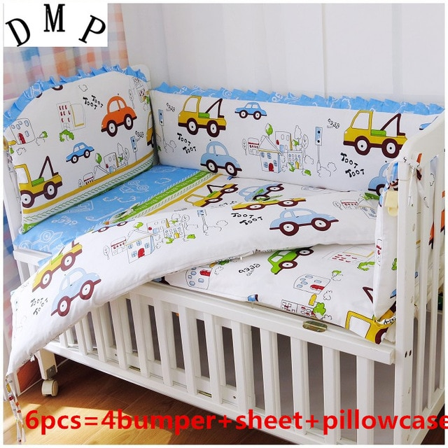 Promotion! 6PCS Car Bedding Set Baby Girl And Boy Crib Bedding Sets