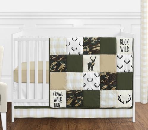 Green and Beige Deer Buffalo Plaid Check Woodland Camo Baby Boy Crib