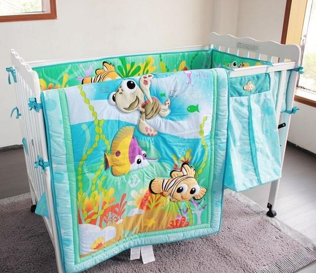 7pcs baby bedding set baby boy crib bedding set cartoon animal baby