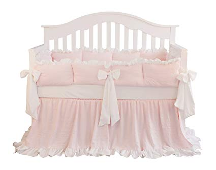 Amazon.com: Blush Coral Pink Ruffle Crib Bedding Set Baby Girl
