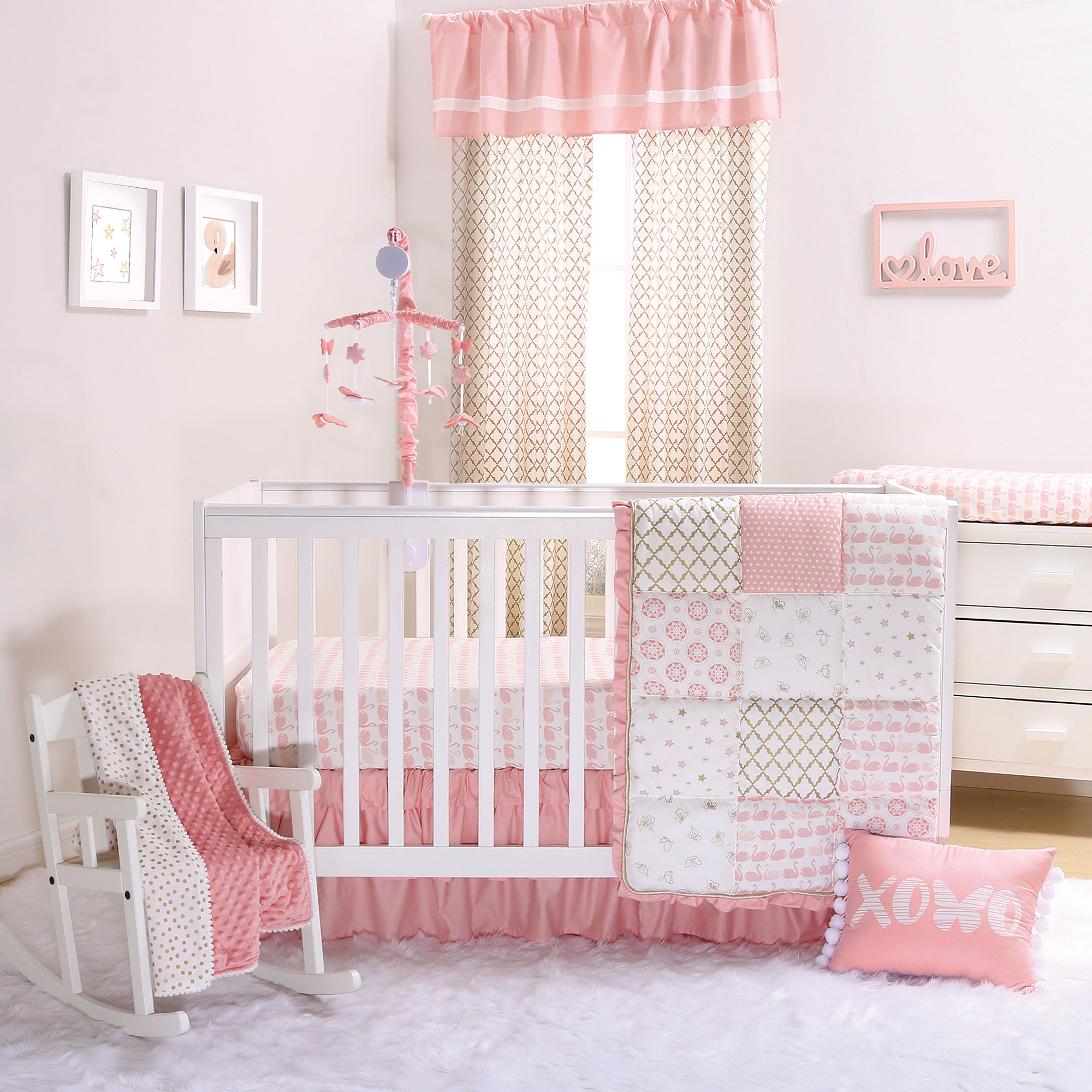 Sweet Swan Coral Pink and Gold Baby Girl Crib Bedding - 20 Piece