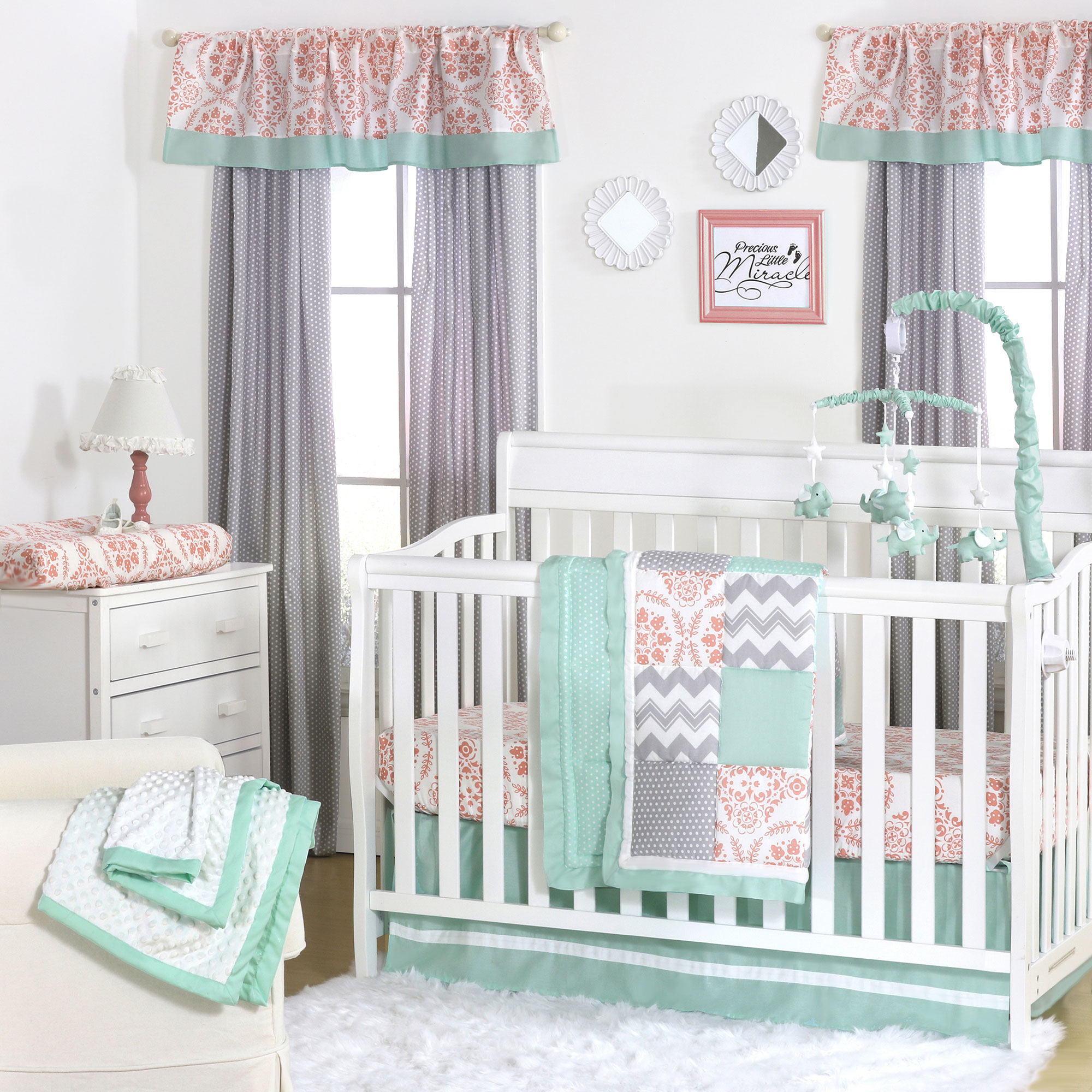 Mint Green, Coral Pink and Grey Patchwork 4 Piece Baby Crib Bedding