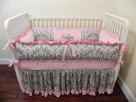 Baby Girl Crib Bedding Set Addilyn Girl Baby Bedding Pink | Etsy