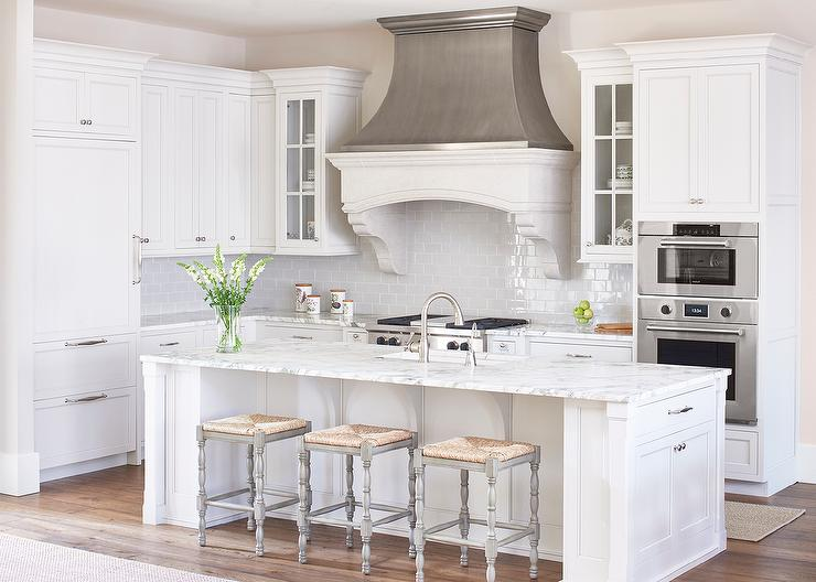 White And Gray Kitchen With Zinc French Kitchen Hood Transitional