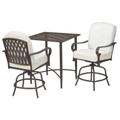 Oak Cliff Custom 3-Piece Metal Outdoor Balcony Height Bistro Set with  Cushions Included, Choose Your Own Color