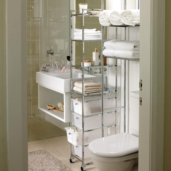 Custom Made DIY Bathroom Storage Idea In Small Space Room Using