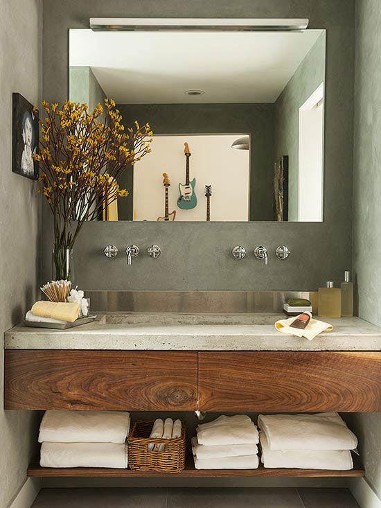 Modern Bathroom Vanities | Beautiful Bathrooms | Concrete bathroom