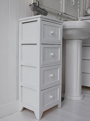 side view of the white tall bathroom storage cabinet | Storage