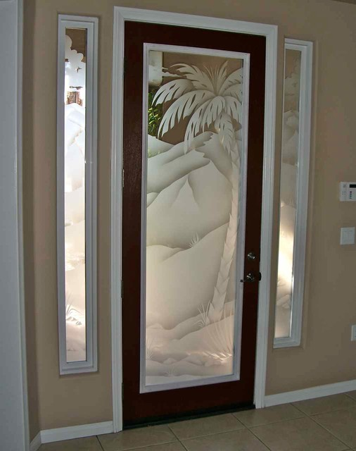 Glass Doors - Frosted Glass Front Entry Doors - PALMS 2D - Beach